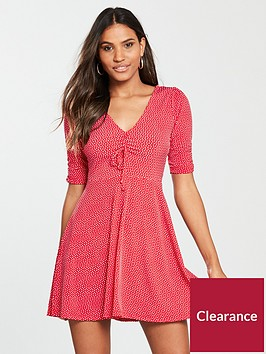 oasis-spot-ruched-tea-dress-rednbsp