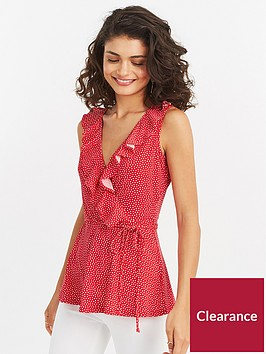 oasis-spot-frill-wrap-top-red