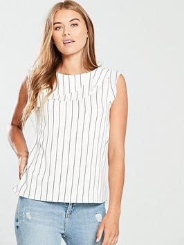 oasis-linen-look-frill-top-blackwhite
