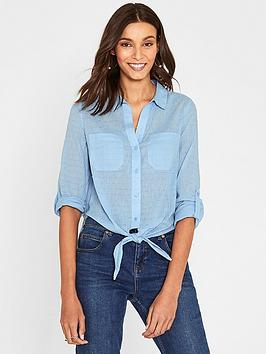 oasis-dobby-cotton-tie-front-shirt-bluenbsp