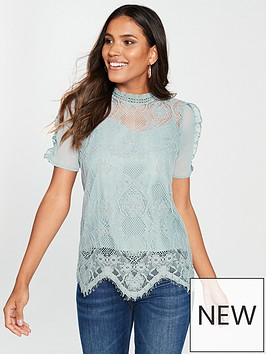 river-island-river-island-lace-frill-sleeve-top-blue