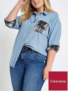 ri-plus-embellished-denim-check-patch-shirt--nbspmulti