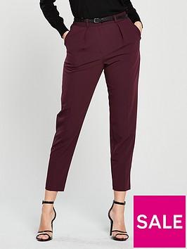 oasis-belted-peg-leg-trouser-rednbsp