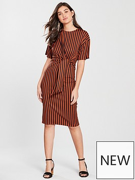 river-island-river-island-stripe-ribbed-midi-dress-rust