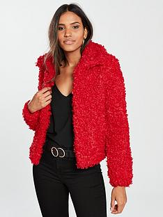 river-island-fluffy-short-jacket-red