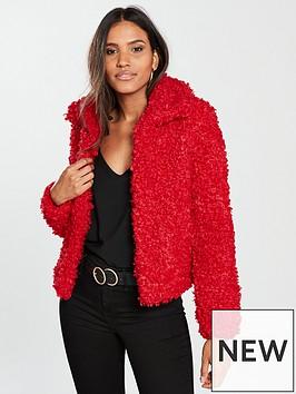 river-island-fluffy-short-jacket-red