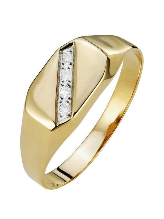 1f1e8274e60 Love GOLD 9ct Gold Diamond Set Mens Signet Ring