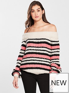 river-island-stripe-stitch-bardot-jumper-pink