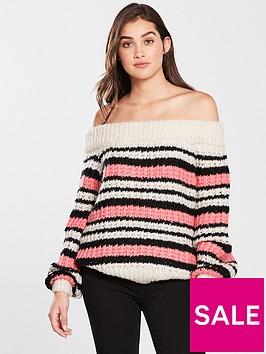 river-island-stripe-stitch-bardot-jumper-pink