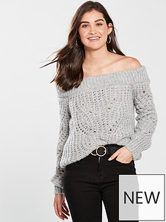 river-island-stitch-bardot-jumper-grey
