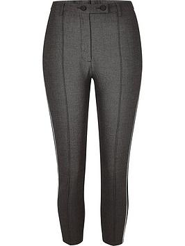 Ri Petite Herringbone Side Stripe Trouser - Grey
