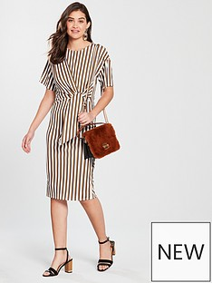river-island-river-island-stripe-ribbed-midi-dress-cream