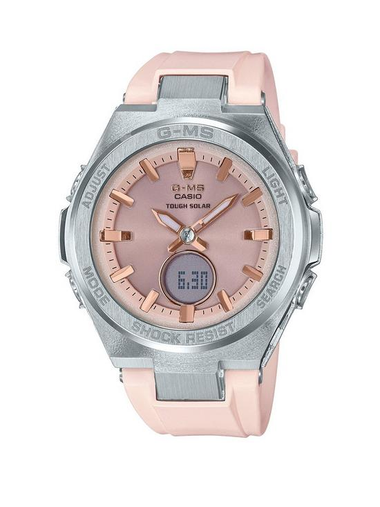 acf4bfe1f54 Casio Casio Baby-G Solar Rose Gold Tone Dial Pink Silicone Strap Ladies  Watch