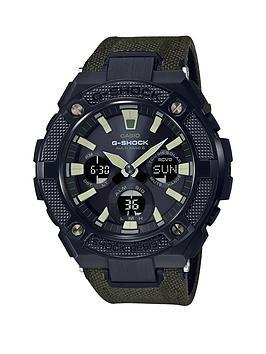 casio-casio-g-shock-g-steel-radio-controlled-solar-black-ip-chronograph-dial-green-fabric-strap-mens-watch
