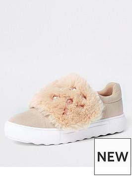 river-island-embellished-faux-fur-slip-on-trainer-cream