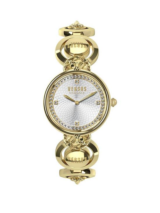 dbb1341a89 Versus Versace Victoria Harbour Textured Silver and Swarovski Crystal Set  Dial Gold Stainless Steel Lions Head Detail Bracelet Ladies Watch
