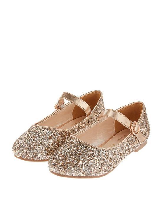 2046591a Monsoon Girls Holly Glitter Ballerina Shoe   very.co.uk
