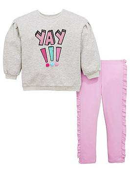 Mini V By Very Girls 'Yay' Pom Pom Sweat & Legging Outfit thumbnail