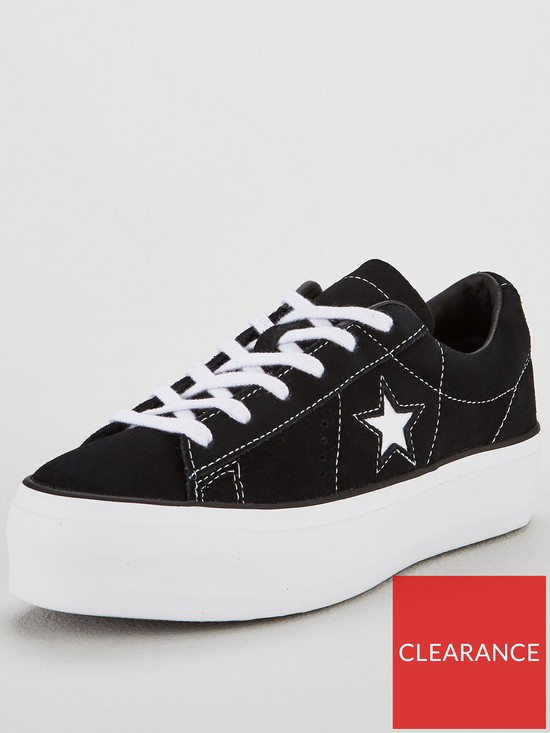 c5d99eb5acfcd7 Converse One Star Suede Platform - Black