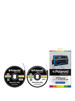 polaroid-polaroid-black-amp-white-pla-filament-amp-z-axis-sheets-bundle-for-3d-printer-includes-1-x-750g-cartridge-black-amp-1-x-750g-cartridge-white-amp-15-z-axis-sheets