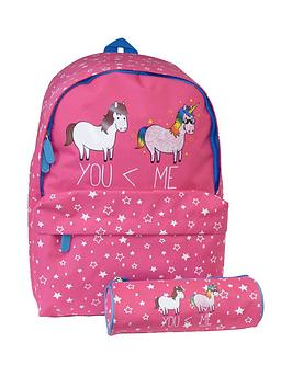 David & Goliath Unicorn Pink Backpack With Pencil Case