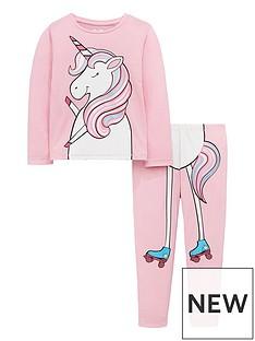 mini-v-by-very-girls-2-piece-roller-skating-unicorn-pyjama-set-pink