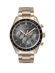 5bbf96ba1 BOSS Boss Trophy Grey, Rose Gold and Black Detail Chronograph Dial Rose  Gold Plated Stainless Steel Bracelet Mens Watch