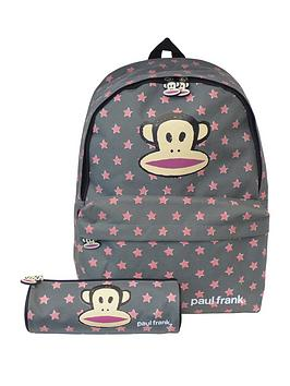 Paul Frank Paul Frank Grey With Peach Backpack With Pencil Case