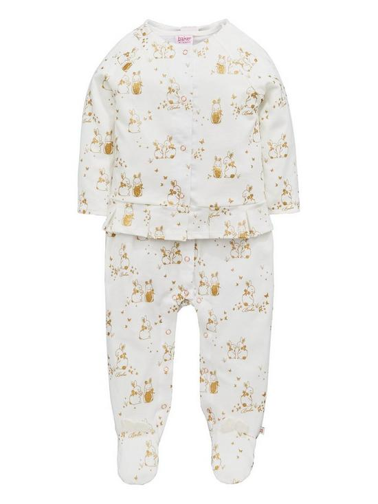 20fc16c7aa5 Baker by Ted Baker Baby Girls Bunnies Velour Sleepsuit Set | very.co.uk