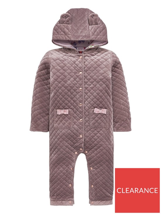 fbc3a1aeaa0ffc Baker by Ted Baker Baby Girl Velvet Quilted Snugglesuit