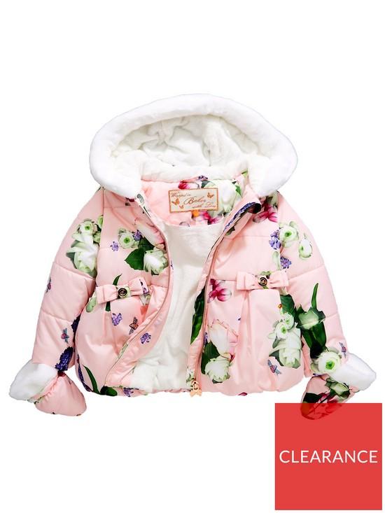 1469bf332da5 Baker by Ted Baker Toddler Girls Padded Coat   Mittens