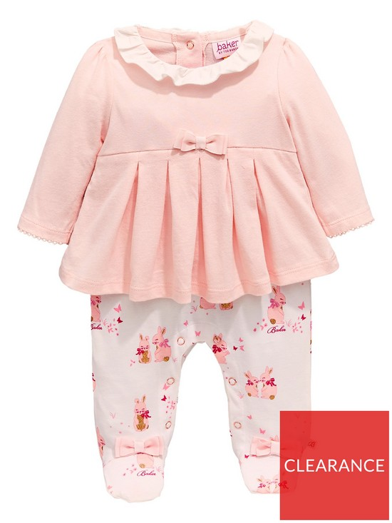 14514d6880f3 Baker by Ted Baker Baby Girls Bunnies Mockable Pleated Romper