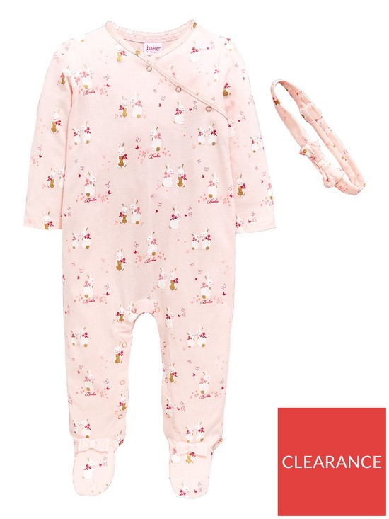 601194610d26 Baker by Ted Baker Baby Girls 2 Piece Bunnies Sleepsuit and Headband Outfit  - Light Pink