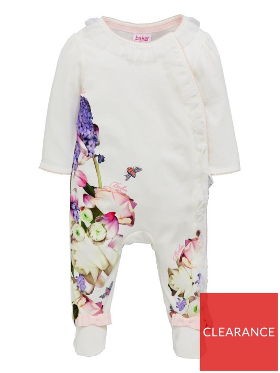 903d060ca Baker by Ted Baker Baby Girls Long Sleeve Placement Print Sleepsuit - Off  White