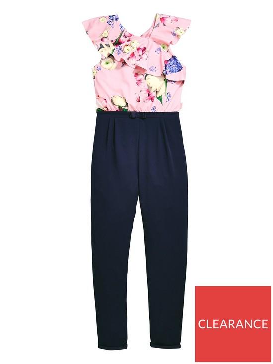 2e0e6ebe992efd Baker by Ted Baker Girls Frill Shoulder Jumpsuit - Navy