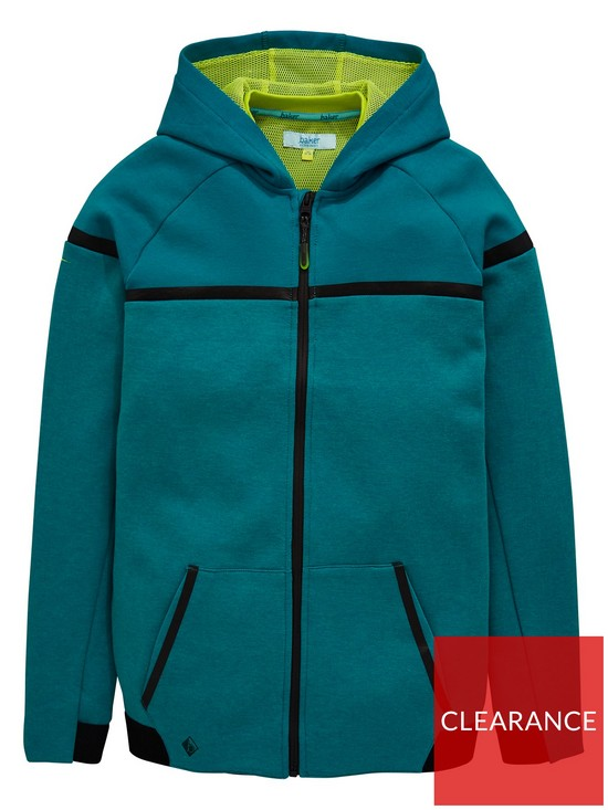 ddcaacb81 Baker by Ted Baker Boys Modern Panel Hooded Zip Front Sweat Top - Green