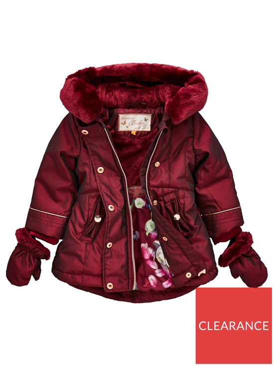 bf48f6059ee0a6 Baker by Ted Baker Toddler Girls Bow Back Shot Parka   Mittens ...