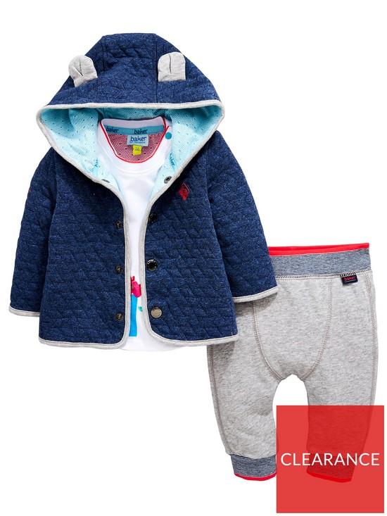9fa937f8b Baker by Ted Baker Baby Boys 3 Piece Popper Hooded Jacket