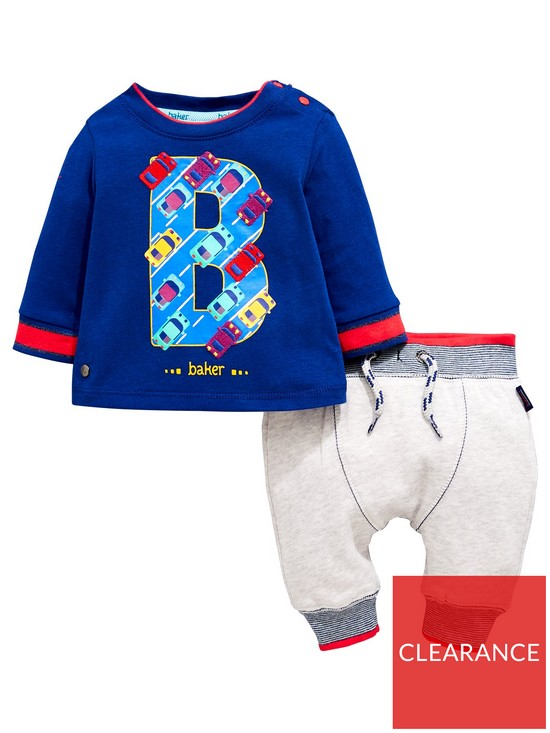 caab4b1a7c9ff3 Baker by Ted Baker Baby Boys 2 Piece Car Printed T-Shirt and Jogger Outfit  - Light Green