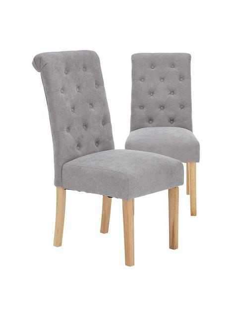 pair-of-fabric-scroll-back-dining-chairs-grey