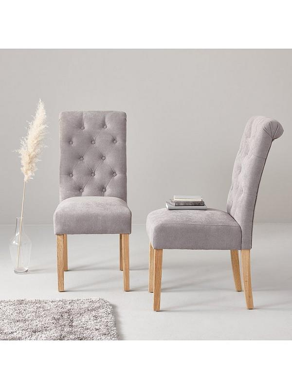 Fabric Scroll Back Dining Chairs Grey, Grey Fabric Dining Chairs With Arms