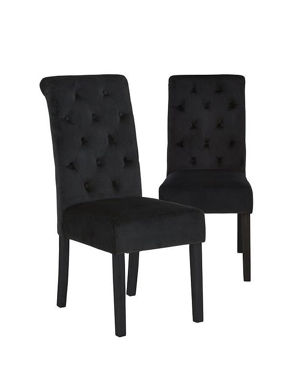 Pair Of Velvet Scroll Back Dining, Black Velvet Dining Room Chairs
