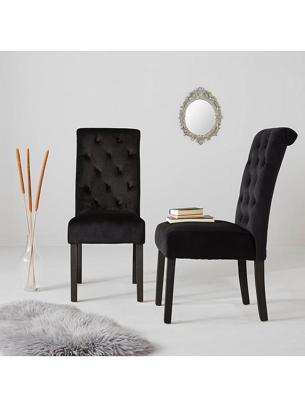 Pair Of Velvet Scroll Back Dining Chairs Black Very Co Uk