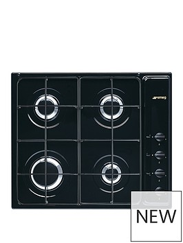smeg-cucina-s64sn-59cmnbspwide-4-burner-gas-hob-with-enamelled-pan-stands-black