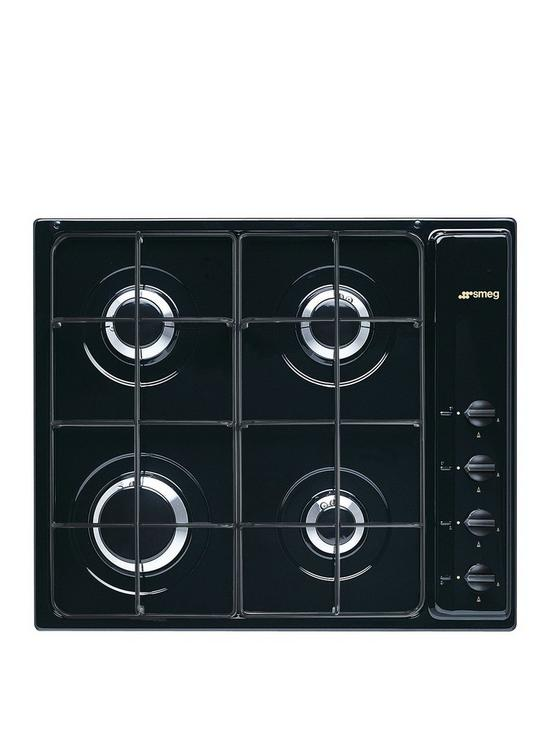Smeg Cucina S64SN 59cm Wide, 4-Burner Gas Hob with Enamelled Pan ...