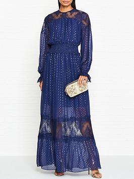 perseverance-london-teardrop-multi-lurex-lace-shirring-gown-navy