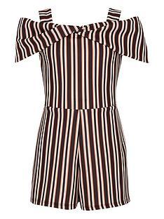 river-island-girls-black-stripe-bow-cold-shoulder-playsuit