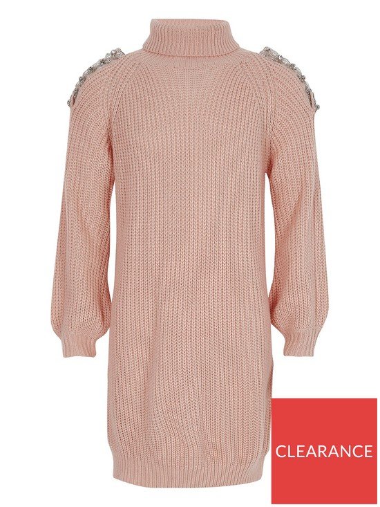 db59b62fb4d River Island Girls Pink Knit Cold Shoulder Jumper Dress