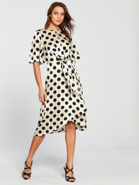 6bafe67f581c V by Very Polka Dot Jacquard Wrap Dress - Monochrome | very.co.uk