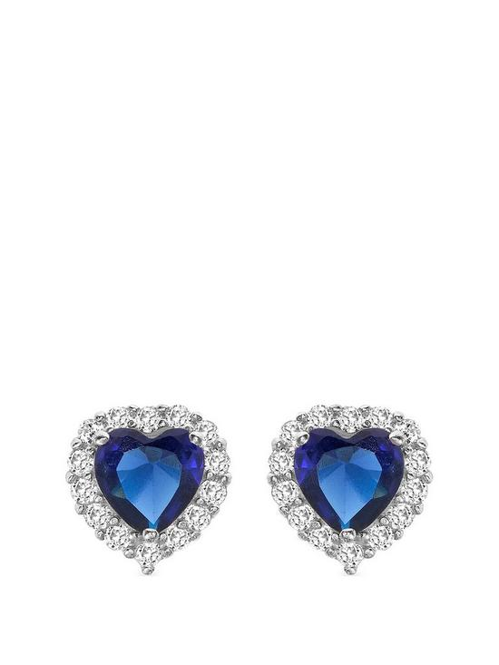 e84f5b53a Love GEM 9ct White Gold Sapphire & Cubic Zirconia Heart Stud Halo Earrings